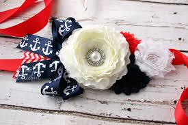 nautical maternity baby shower sash belt with anchors in