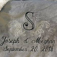 personalized wedding blankets personalized wedding embroidered throws and blankets custom