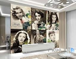 3d wall murals idecoroom 3d 6 retro movie stars wall paper mural art prints living room decal decor idcwp