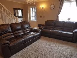 Dfs Leather Recliner Sofas Beautiful Dfs Guild Dark Brown Leather Manual Recliner Sofas Sold