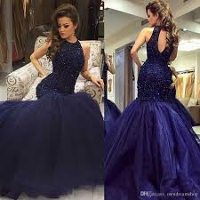 luxury navy blue mermaid prom pageant dresses 2017 keyhole