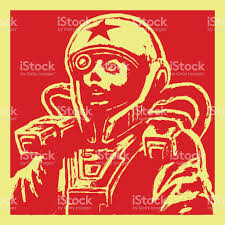 heroine astronaut sketch on red background vector illustration