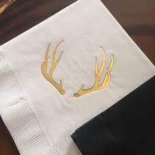 deer antlers cocktail napkins gold foil stamp cocktail parties