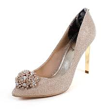 Wedding Shoes Ted Baker Ted Baker Women U0027s Peetch Textile High Heel Court Shoe Sparkle Gold