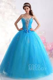 blue quinceanera dresses vintage gown sweetheart floor length tulle sky blue