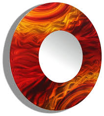 Circle Wall Mirrors Red And Orange Contemporary Round Wall Mirror 116 By Jon Allen