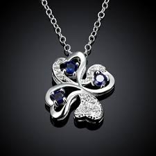 flower silver necklace images Necklaces women classic flower silver plated copper rhinestone 18 jpeg
