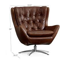 Leather Accent Chair Wells Leather Swivel Armchair Pottery Barn