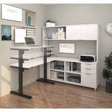 bestar pro linea l desk with hutch including electric height