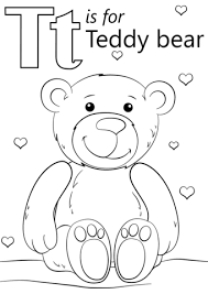 letter teddy bear coloring free printable coloring