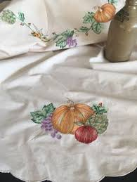 autumn harvest table linens vintage butter white figural lace thanksgiving tablecloth thanksgiving