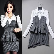 2017 fashion business formal dress women interview gray striped