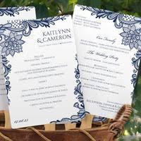 wedding program fan template ornate lace navy program fan template instant download