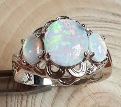 opal stone rings images Fashion three stone blue fire opal engagement ring for lady usa jpg