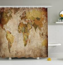 Usps Map World Map Shower Curtain Fabric Rustic Primitive Antique Globe