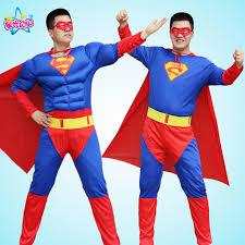 Superman Halloween Costumes Adults Cosplay Man Deluxe Muscle Christmas Superman Halloween Costume
