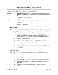 asset purchase agreement retail store template u0026 sample form