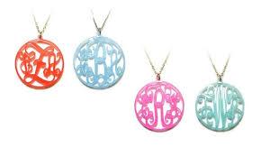 monogram necklace acrylic personalized acrylic initial or monogram necklace groupon