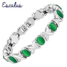 ladies magnetic bracelet images Escalus wristband women green cat eye stone silver ladies magnetic jpg