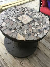 Mosaic Top Patio Table Wooden Spool With Mosaic Top For A Patio Table Cool Idea