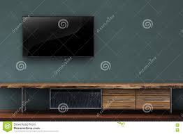 Led Tv Wall Table Living Room Led Tv On Dark Green Wall With Wooden Table Media Fu