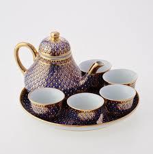 tea set benjarong tea set candle drop pattern on blue naraiphand