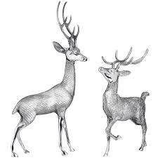pair of ornamental metal stags from hill interiors