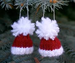 two santa miniature knit hat ornaments 2 tiny knit red caps