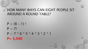 round table number of seats circular permutation
