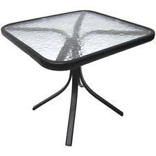 Side Patio Table Square Outdoor Garden Patio Deck Porch Pool Glass Top Side Table