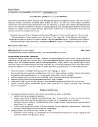 Construction Sample Resume by Project Coordinator Sample Resume Jennywashere Com