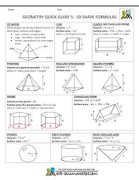 Surface Area And Volume Worksheets Grade 7 Geometry Cheat Sheet
