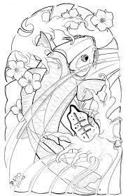 outline awesome koi fish design tattooshunter com