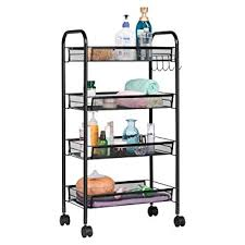amazon com langria 4 tier wire mesh rolling cart for serving