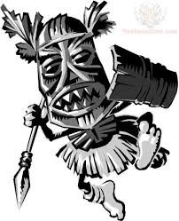 warrior tiki tattoo design
