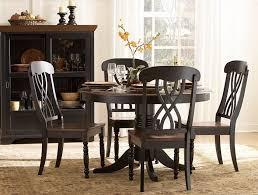 Cherry Wood Dining Room Set Ohana 1393bk 48 5pcs Country Black Cherry Wood Round Dining Table Set