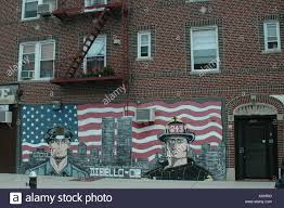 nyc wall mural painted on building to remember the lost of stock nyc wall mural painted on building to remember the lost of firefighter and hero during september 11 911 in bensonhurst brooklyn