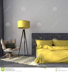 Yellow And Gray Wall Decor by Gray Bedroom And Yellow Decor Stock Photo Image 41536105