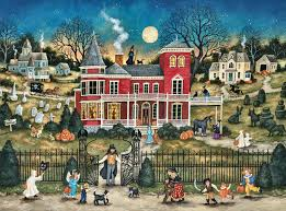 halloween background wide houses halloween mayhem holiday painting illustration art artwork
