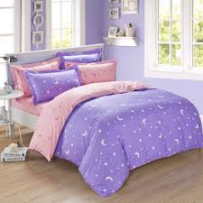 Pink Bed Linen Lavender And Pink Moon Star Full Queen Size Duvet Cover Bedding