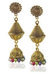 fancy jhumka earrings sajja fancy gold plated traditional pearls hook type