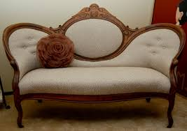 the reupholstery of beth u0027s antique settee modhomeec