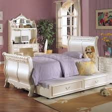 kids beds pearl white sleigh bed with trundle af 01010t 008 6