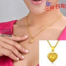 heart necklace gold plated images Wholesale yunnan nationalities sand gold plated necklace wedding jpg
