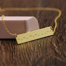 morse code necklace personalized golden customized message charm necklace solid engraved morse code