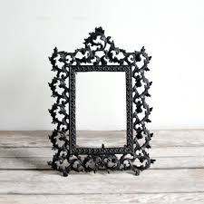 decor cheap black metal picture frames and rustic wood table for