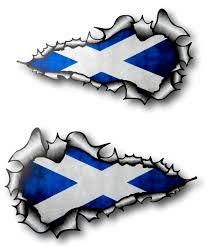Scottish County Flags Long Pair Ripped Torn Metal Design With Scotland Scottish Saltire