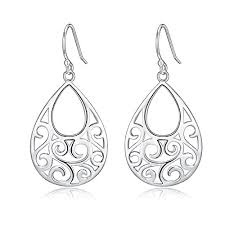 sterling silver earrings sensitive ears sterling silver filigree abstract peacock design