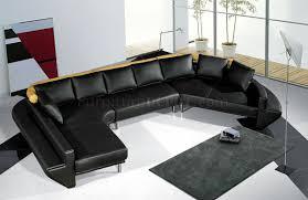 Black Leather Sectional Sofa Modern Full Leather Sectional Sofa Mars Black