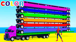 learn colors and long cars color learning for kids w spiderman